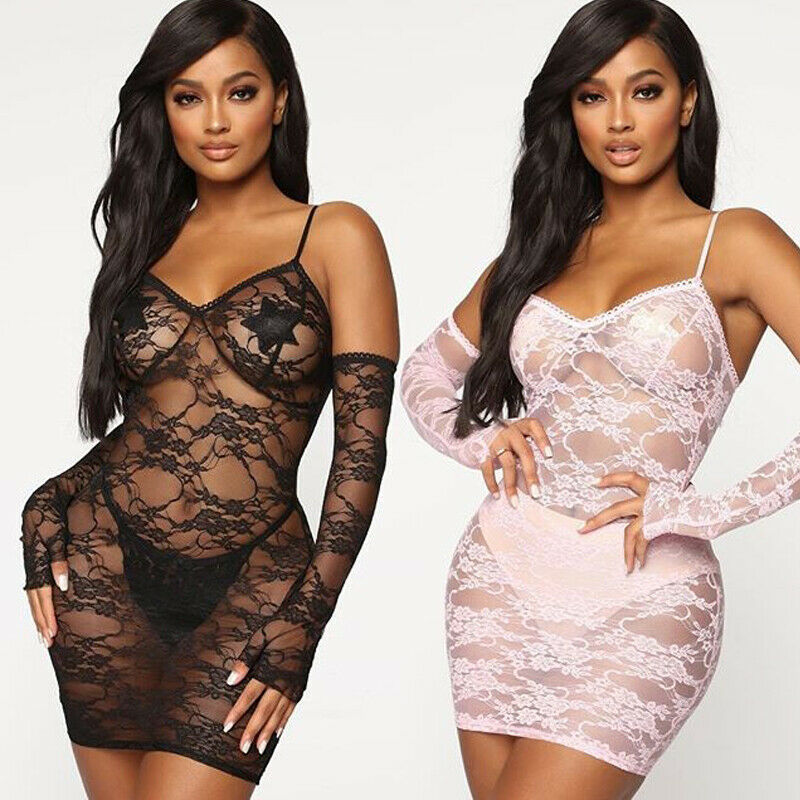 New Women 2PCS Sexy Lingerie Lace Teddy Features Plunging Eyelash Underwear And Snaps Crotch Sexy Nightwear With Lace Glove