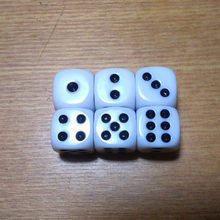Free shipping Exclusive NEW 6pcs 12mm 6-sided D6 White with black dice for board game and other games accessories