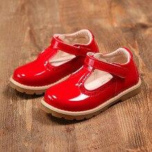 2018 Новые Девушки Твердые лакированной из искусственной кожи обувь принцессы для девочек Студенческая обувь с толстой мягкой подошвой, розовый, красный, черный, размер 21-30