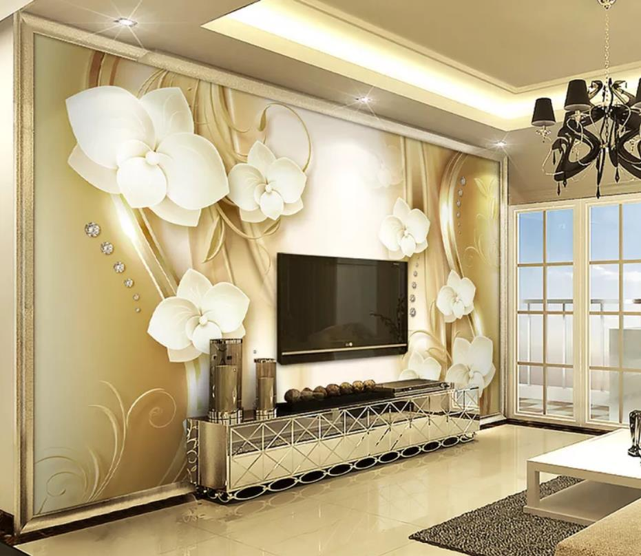 Golden European pattern Phalaenopsis 3d stereo TV background wall wall papers home decor designers in Wallpapers from Home Improvement