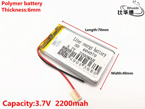 Image 1 - 3.7 V 2200 mAH 604070 Polimer lityum iyon/Li ion şarj edilebilir pil için DVR, GPS, mp3, mp4