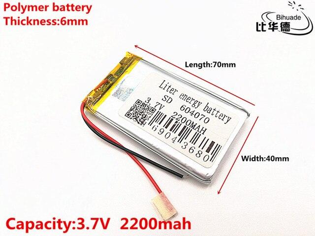 3.7 V 2200 mAH 604070 Polimer lityum iyon/Li ion şarj edilebilir pil için DVR, GPS, mp3, mp4