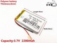 3.7 V 2200 mAH 604070 Polymer lithium ion/Li Ion Oplaadbare batterij voor DVR, GPS, mp3, mp4