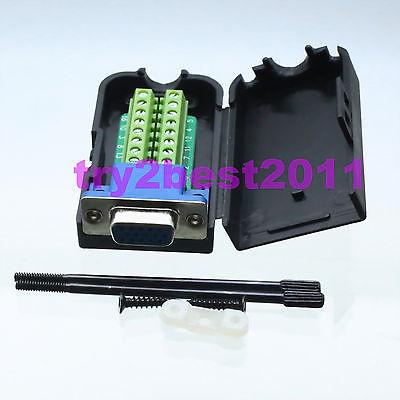 Connector DB15 jack pin D-SUB VGA 3+9 line Termina PCB Plastic Cover screw материнская плата asus h81m r c si h81 socket 1150 2xddr3 2xsata3 1xpci e16x 2xusb3 0 d sub dvi vga glan matx