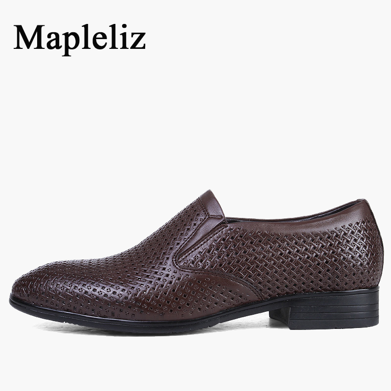 Mapleliz Brand Casual Genuine Leather Men Shoes Punching Design Breathable Slip-On Solid Flat High Quality Dress Wedding Shoes branded men s penny loafes casual men s full grain leather emboss crocodile boat shoes slip on breathable moccasin driving shoes
