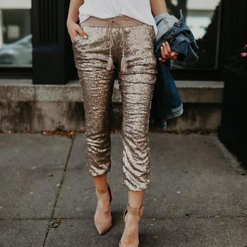 Mid-waist sequins pants For women pendant with elastic waist sequins Pants fashionable spring pants Pantalon Mujer