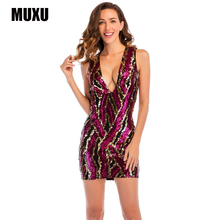 MUXU sexy red sequin dress fashion glitter women clothing patchwork jurken jurk vestidos mujer clothes sukienka mini