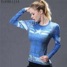 Women's 3D T-shirt Bodys Armor Marvel costume superman / batman T-shirt long-sleeved lady health tights Compression t-shirts