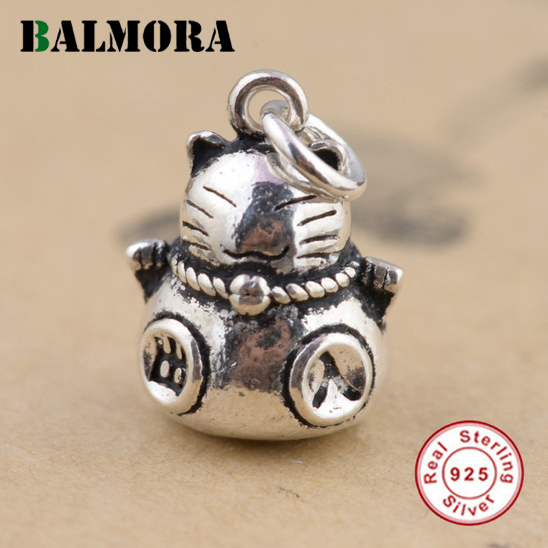 BALMORA 925 Sterling Silver Vintage Fortune Cat Pendants For Necklaces Women Men Accessories Gifts Cute Animal Jewelry SY13894