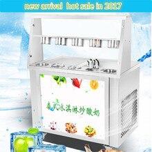 CE Жареная Машина для льда, 220 В машина для жареного льда из нержавеющей стали, две сковородки машина для льда, тайская машина для мороженого