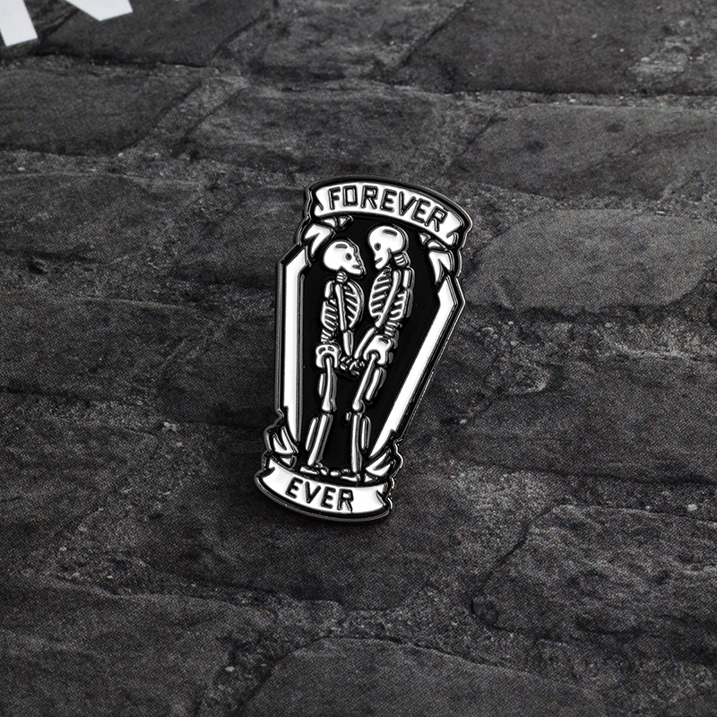 "Love You ""Forever Ever"" Skeleton Coffin Pins Button Punk Dark Enamel Pin For Couples Lovers Cartoon Brooch Badge Jewelry Gift by Qihe Jewelry"