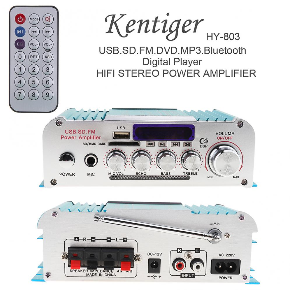 Universal DC12V/AC220V/AC110V 2CH HI FI Bluetooth Car Audio Amplifier FM Radio Player Support SD/USB/DVD/for Car Motorcycle Home