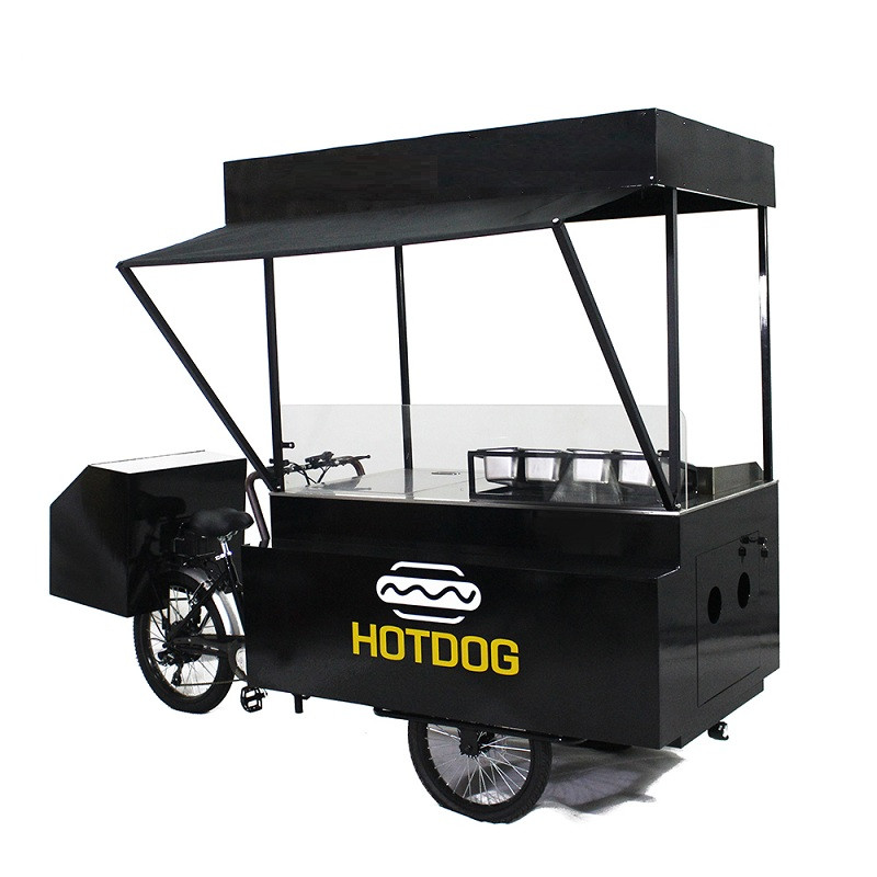 CE Approved Mobile 3 Wheel Food Vending Bike Hot Dog Carts Coffee Tricycle