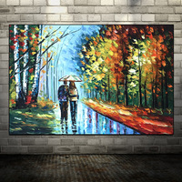 100%Handmade Handpainted Lover Rain Street Tree Lamp Landscape Oil Painting On Canvas Wall Art Wall Pictures
