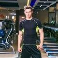 Новый Сжатия мужская Футболка Бодибилдинг Коротким Рукавом Мужская Одежда Crossfit Футболка Носить Одежду