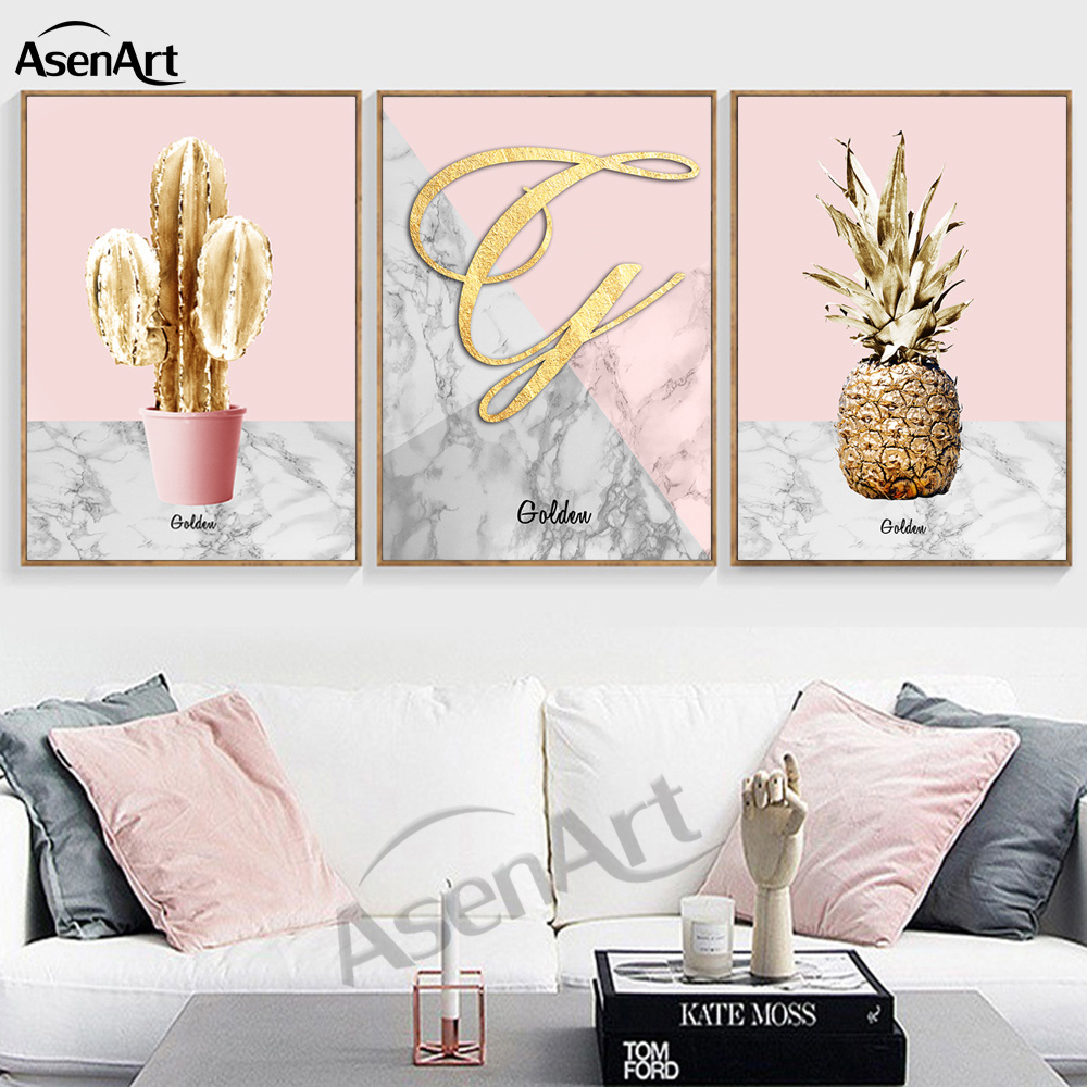 Golden Pineapple pink ornament Artwork North Poster for Living Room ...