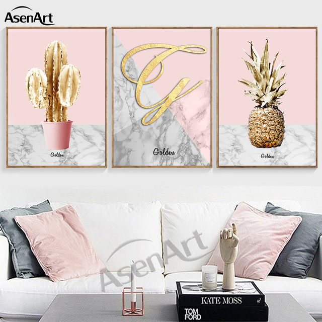 Golden pineapple pink ornament artwork north poster for living room home decoration wall art canvas prints
