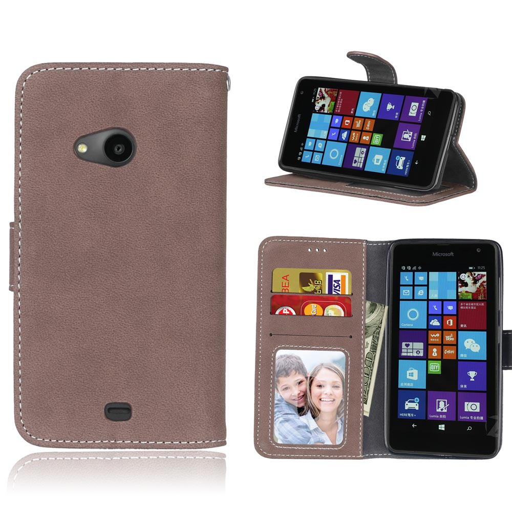 Luxury Retro PU Frosted Flip Stand Leather+Soft Rubber TPU Case For Nokia Microsoft Lumia 535,Card Slot Phone Shell Cover+Gift