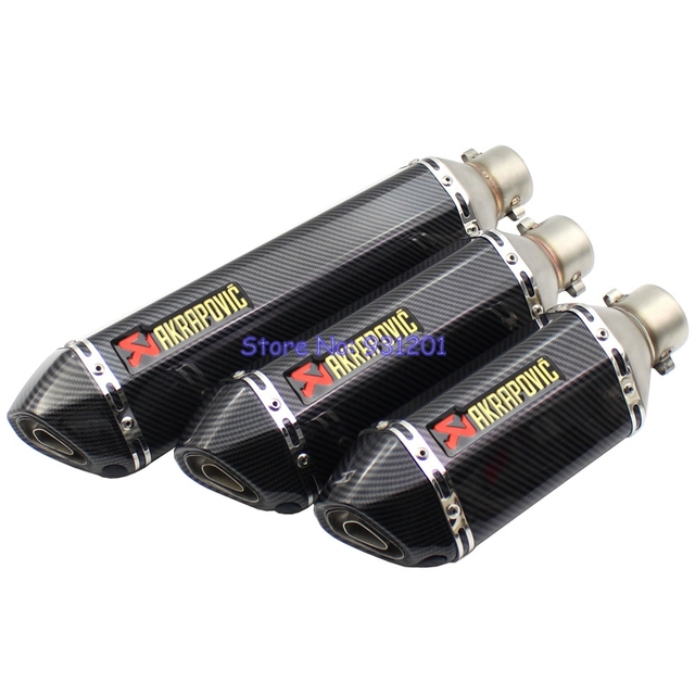 Inlet 51mm Motorcycle Exhaust Pipe Muffler Akrapovic Exhaust Carbon Fiber Looking Motorbike Escape Slip On