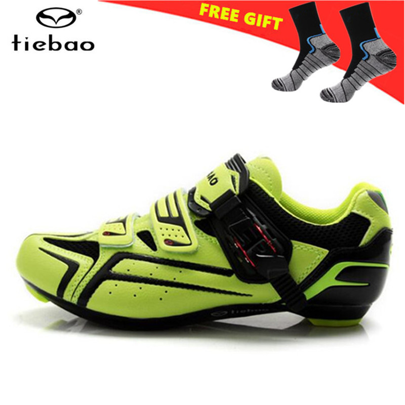 TIEBAO Road Cycling Shoes Men sneakers Women 2018 zapatillas deportivas hombre green Breathable Bicycle Self-locking Bike Shoes tiebao tiebao b1285 recreational cycling shoes black green size 42