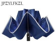 8 18k 反射ビッグ parapluie 逆傘車折りたたみ傘雨男性女性自動逆傘 stron