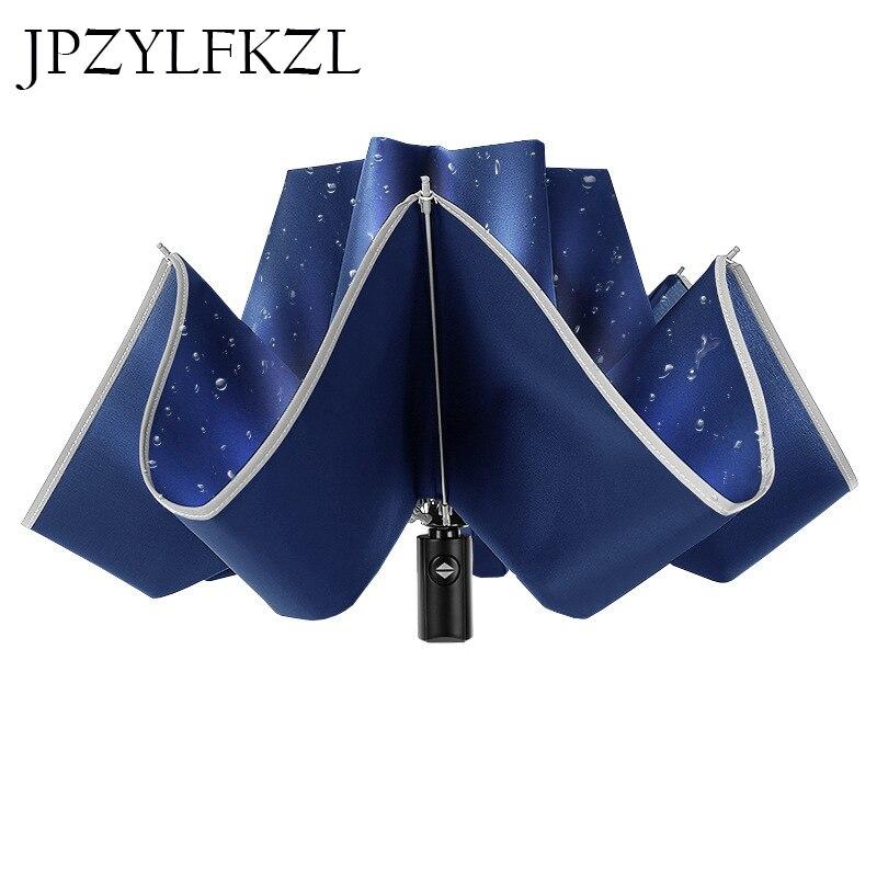 8 k réfléchissant grand Parapluie Inverse Parapluie pour voiture affaires pliable Parapluie pluie hommes femmes automatique Inverse parapluies Stron