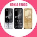 Nokia Desbloqueado 6700C Original 6700 Classic Gold 5MP Teléfonos móviles caso de cuero libre Del Teclado Ruso Libre Dropshipping