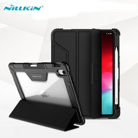 For iPad Pro 11 Case Nillkin Shockproof TPU Bumper + Hard PC Leather Flip Cover for iPad Pro 11inch 2018 with Pencil Holder