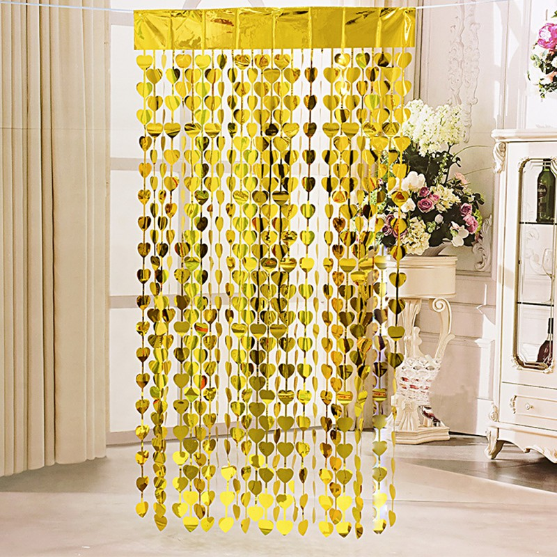 Love Heart Doorway Room Hanging Curtain Party Door & Window Screen Holiday Party Wedding Decor Festival Party Supplies H1