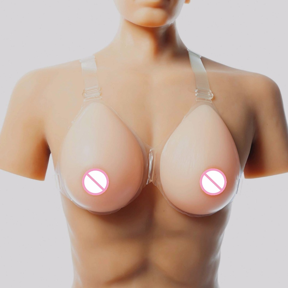 Buy 800g 1 pair C Cup Silicone Breast Form Silicone Fake breasts Tits Enhancer Boobs shemale Crossdresser bra Strap 2 colors