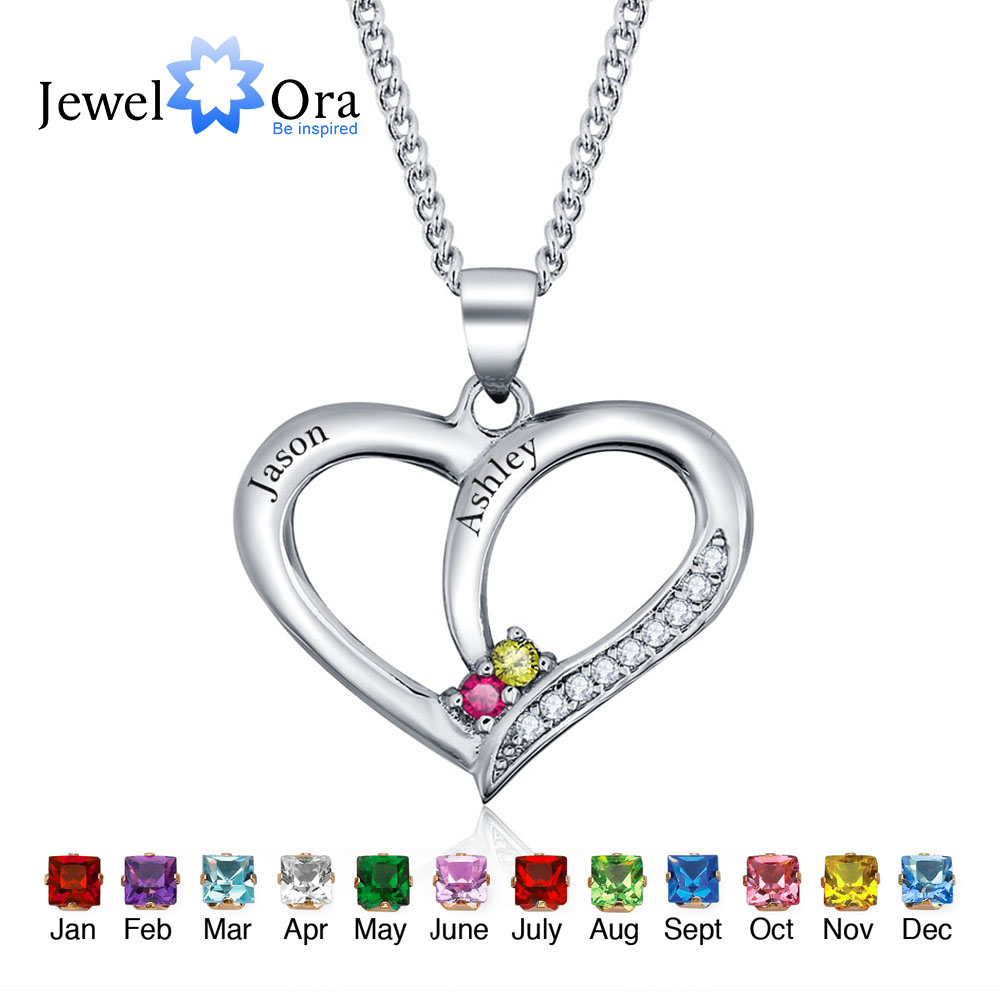 Personalized Engrave Name Pendant Necklace DIY Birthstone Heart 925 Sterling Silver Necklaces Pendants JewelOra NE101234