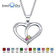 Personalizado Grabado Nombre Collar Colgante DIY Birthstone Corazón Plata de ley 925 Collares y Colgantes (JewelOra NE101234)