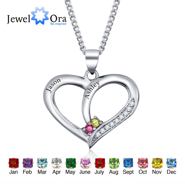 Personalized Name DIY Birthstone Heart 925 Sterling Silver Necklaces & Pendants Birthday Gift For Girl Friend(JewelOra NE101234)