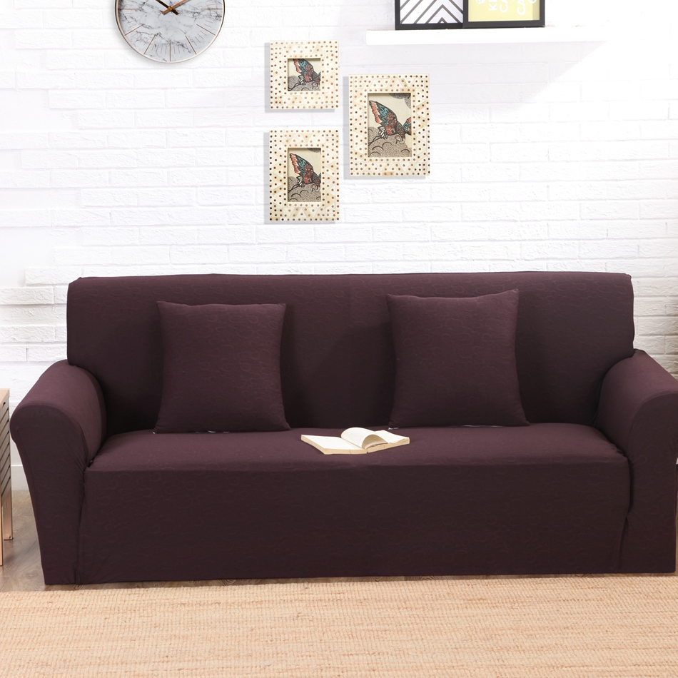 Brown solid color knitted elastic couch sofa cover,jacquard stretch sofa cover for living room,anti-slip furniture slipcovers