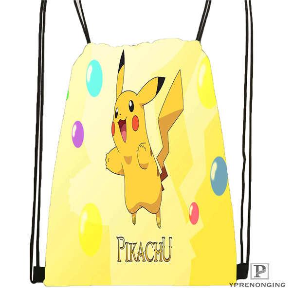 Custom Cartoon-Pokemon-Cute@01- Drawstring Backpack Bag Cute Daypack Kids Satchel (Black Back) 31x40cm#180611-01-24