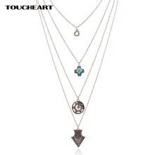 Toucheart Многослойные тибетские камни богемные Ожерелья Подвески