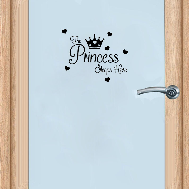 YOJA 25*20.2CM PRINCESS SlEEPS HERE Baby Girls Room Door Sticker Home Decor Wall Decal D1 0180-in Wall Stickers from Home & Garden on Aliexpress.com | Alibaba Group