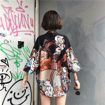 Japanese Harajuku Vintage Female Man Kimono Cardigan Ulzzang Kawaii Graphic Oversized Tops Shirts Street Fashion Bandage Blouse 2