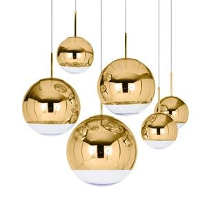 Image 5 - Lámpara nórdica con bola de cristal dorada y plateada para LOFT, luces LED colgantes para restaurante, Bar, iluminación Industrial, accesorios de cocina, Luminaria