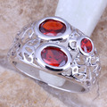 Admirable Red Created Garnet Silver Stamped 925 Women's  Ring Size 6 / 7 / 8 / 9  R0946