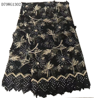 Black African Lace Fabric 2017 Embroidered 3d Flower Lace Fabric Nigerian Applique Tulle French Lace For