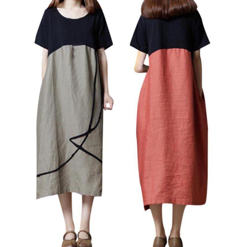 夏 O ネックパッチワーク A 綿リネンドレス女性半袖 Vestidos プラスサイズの女性服