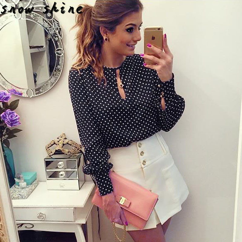 snowshine YLI Women Casual Long Sleeve Blouses Summer Chiffon Polka Dots Shirt Tops free shipping