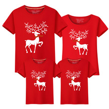 Christmas Family Matching Outfits T-shirt More Color Milu Deer Look Clothes Mother Father Baby Short Sleeve