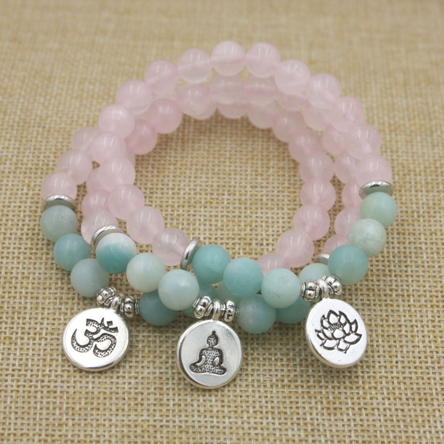 Rose Quartz and Amazonite Mala Bracelet