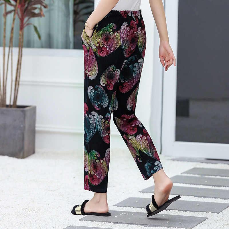 22 色 2019 女性の夏のカジュアル鉛筆のズボン XL-5XL プラスサイズハイウエストパンツプリント弾性ウエスト中年女性パンツ
