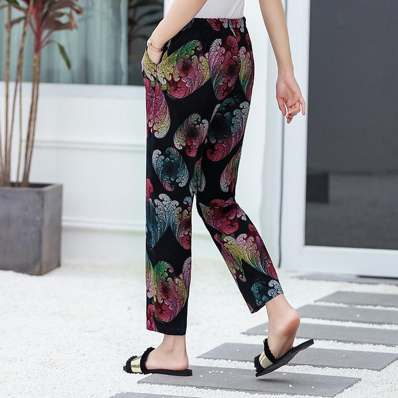 Image 5 - 22 Colors 2019 Women Summer Casual Pencil Pants XL 5XL Plus Size High Waist Pants Printed Elastic Waist Middle Aged Women Pants-in Pants & Capris from Women's Clothing