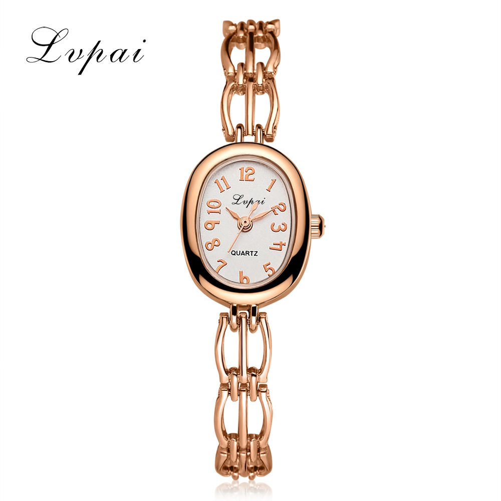 Lvpai Brand Fashion Luxury Watches Women Rose Gold Simple Oval Dial Ladies Quartz WristWatches Business Dress Female Clock LP142 цена и фото