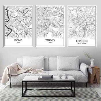 Retro Parigi Francia mappa della città di Carta Kraft Poster vintage  Soggiorno di Arte Della Parete