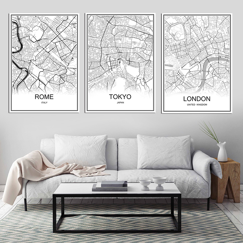 Retro paris france city map kraft paper poster vintage for Living room paper